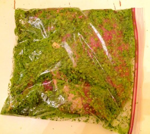 green sauce flank steak in bag
