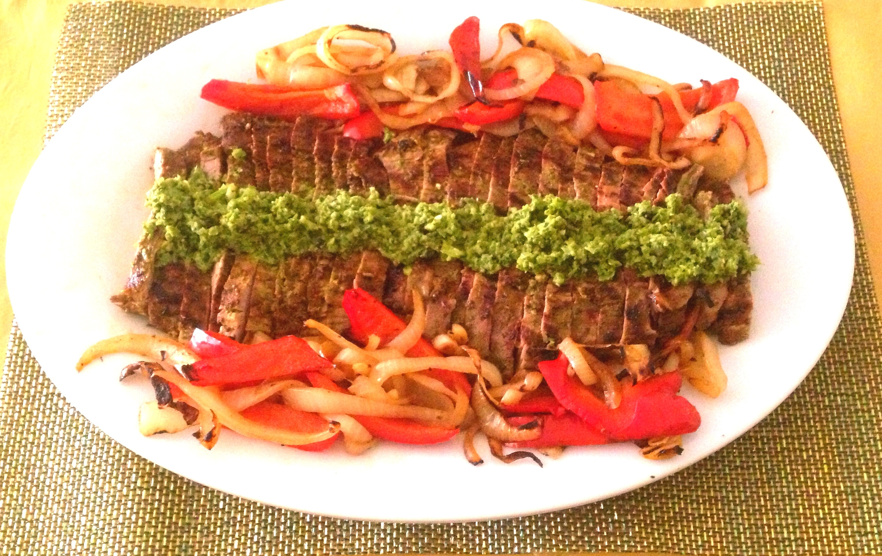 Grilled Flank Steak with Pepper Lime Cilantro Marinade | Hellbent ...