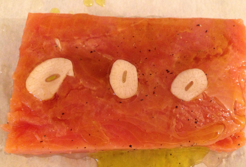 salmon en papillote garlic