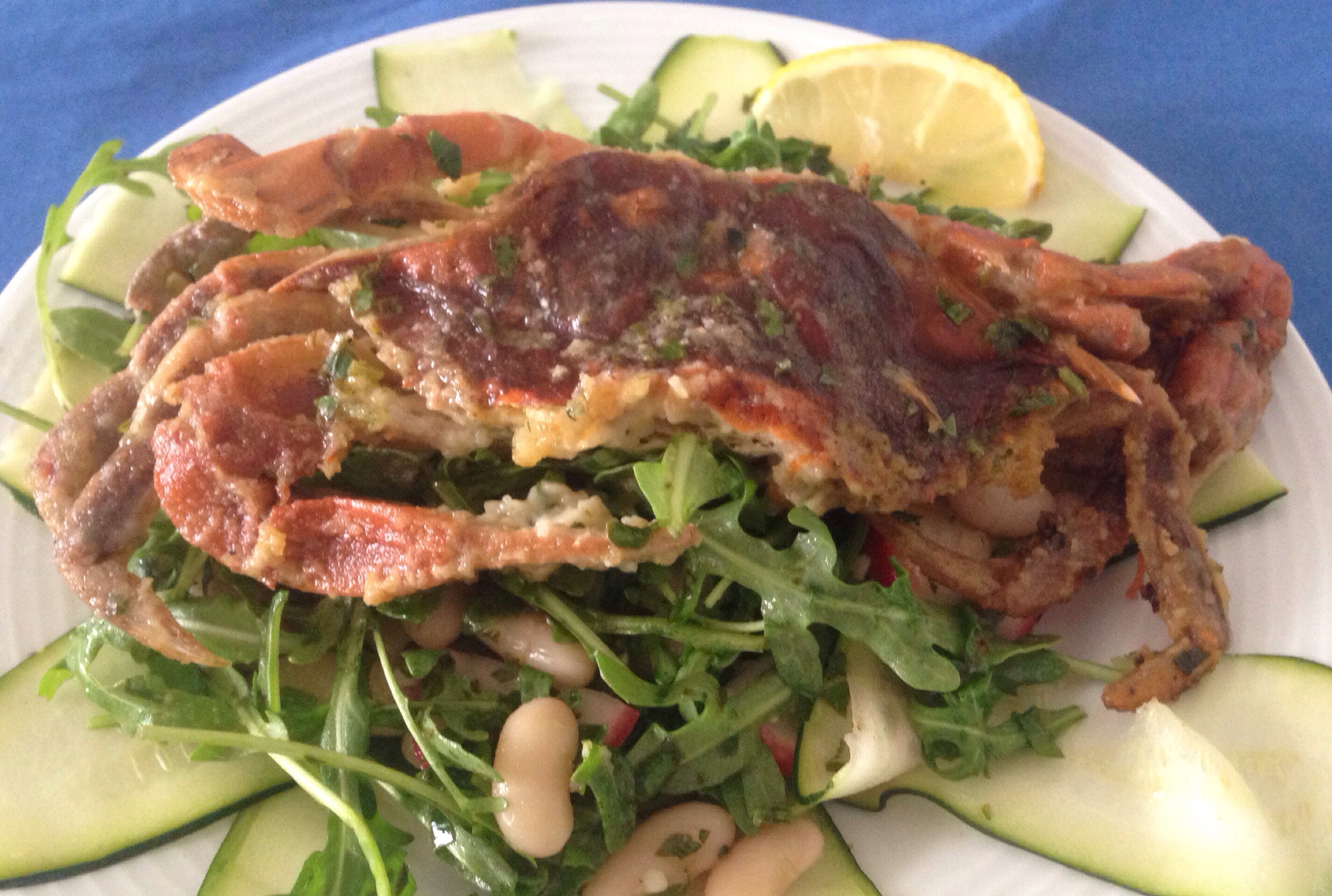 Soft Shell Crab on Arugula, White Bean and Zucchini Salad