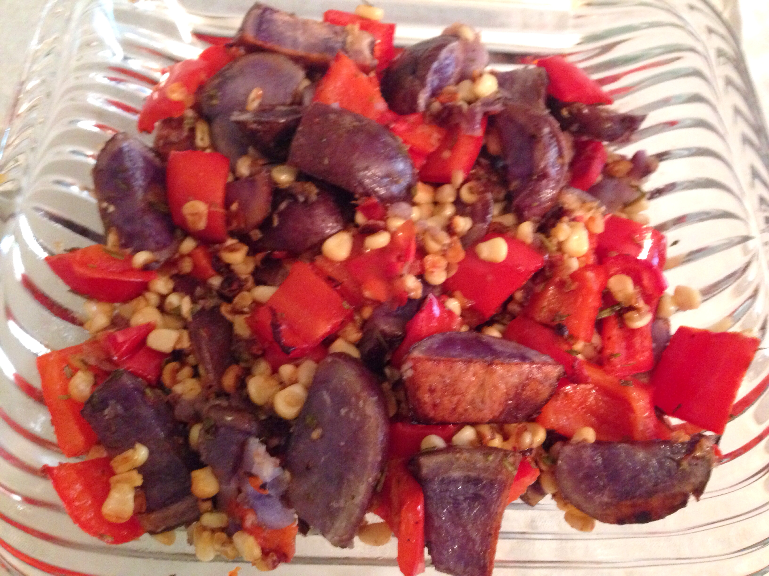 Red pepper, white corn and blue potatoes medley